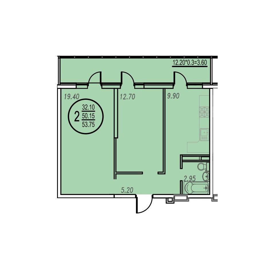 Двух комнатная квартира   фото 1 из 1