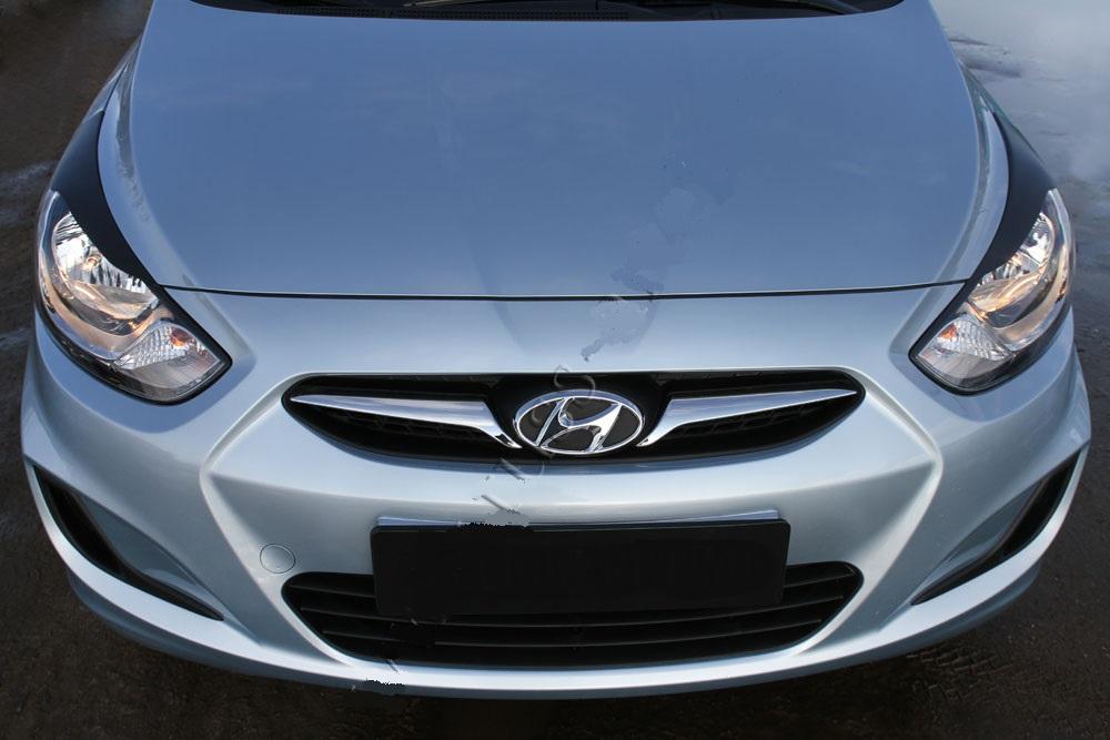Накладки на передние фары (реснички) Hyundai Solaris седан 2010-2014 (l дорестайлинг)   фото 1 из 3