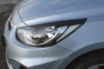 Накладки на передние фары (реснички) Hyundai Solaris седан 2010-2014 (l дорестайлинг)   фото 2 из 3